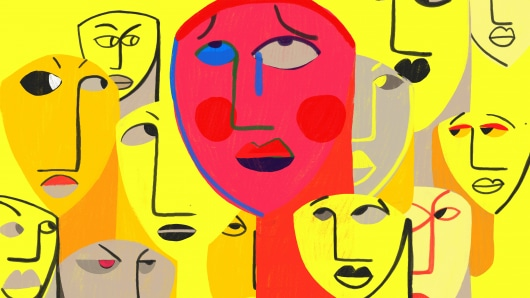 Social phobia anxiety disorder, SAD. Conceptual colourful illustration shows a person with intense social anxiety symptoms and overwhelming fear of social situation.